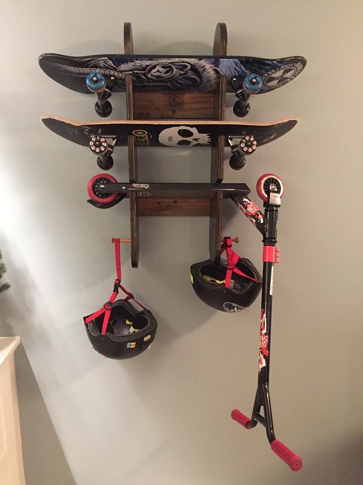 Beau Skateboard/Scooter Rack Skateboard Storage, Scooter Storage, Skateboard  Bedroom, Garage Shop,