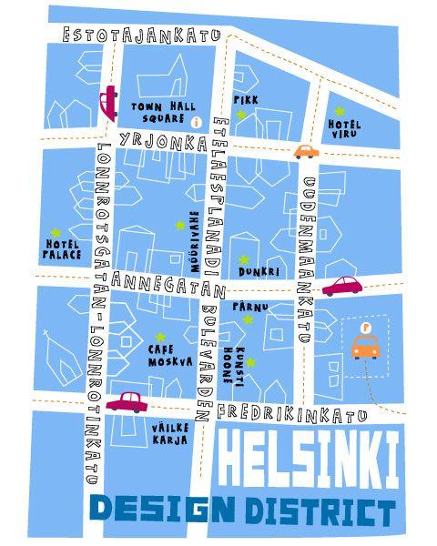 Map of Helsinki design district - unfortunately artist not known