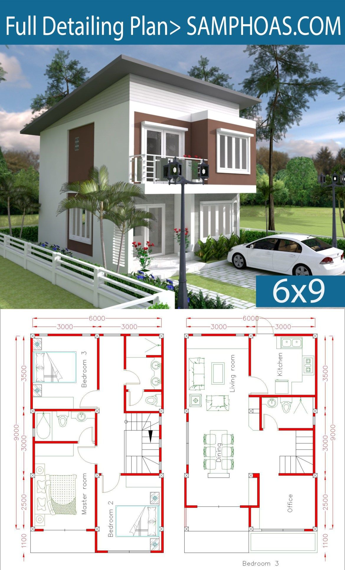 Simple Home Design Plan 6x9m With 3 Bedrooms Planos Para