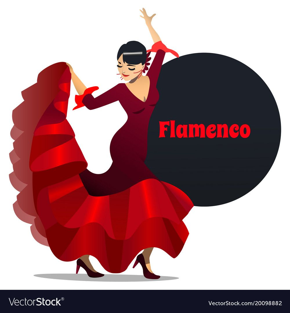 Flamenco Dancer Dancing Girl In Cartoon Style For Fliers Posters Banners Prints Of Dance School And Studio Vector Il Cartoon Styles Flamenco Dancers Flamenco