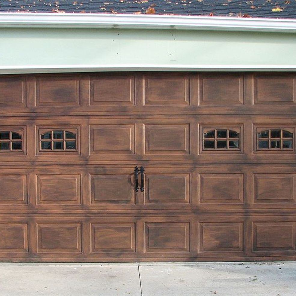 Diy faux stained wood garage door tutorial wood gifts for Faux finish garage doors
