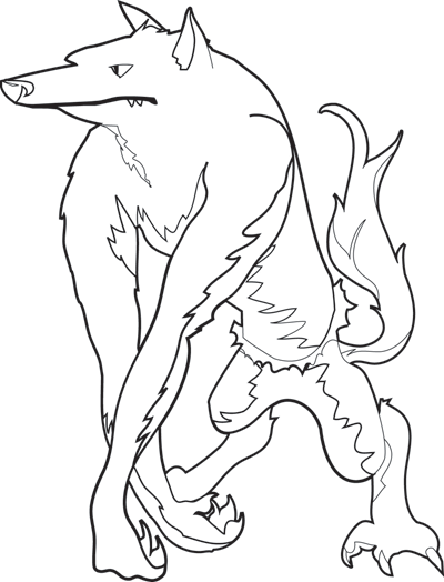 Halloween Coloring Page Werewolf