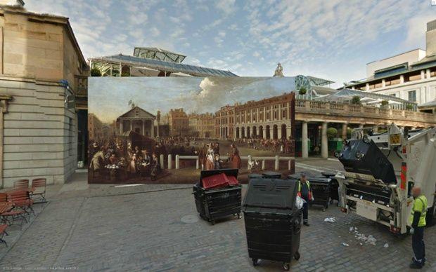 Covent Garden - Pinturas de Londres del Siglo XVIII pegadas en la vista de Google Street View - http://2ba.by/12nbt