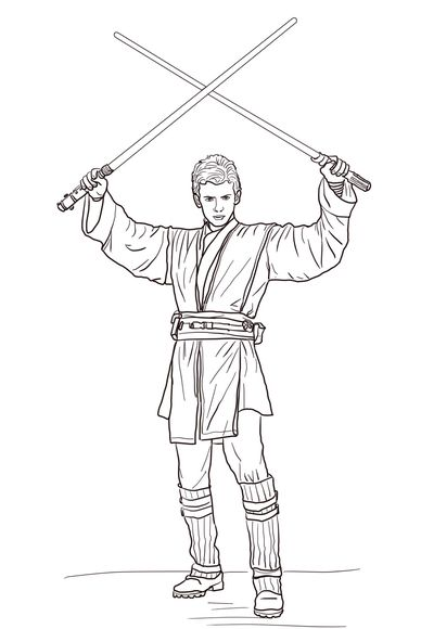 Anakin Skywalker With Two Lightsabers Coloring Page Star Wars