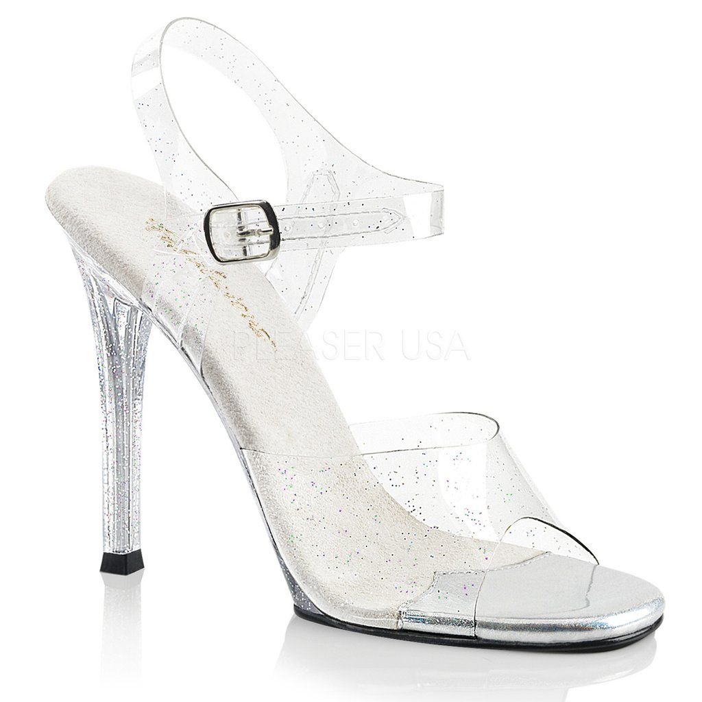 30ace9fb89b GALA-08MMG Fabulicious Sexy Shoes 4 1 2 Inch Heel Clear Posing Glitter  Sandals