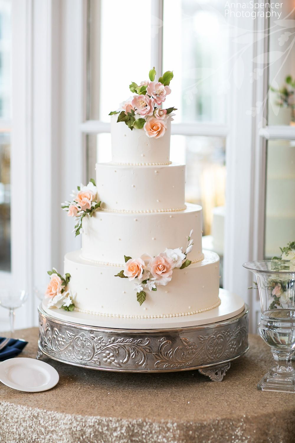 White wedding cake peach flowers by Frosted Pumpkin | Wedding Cakes ...