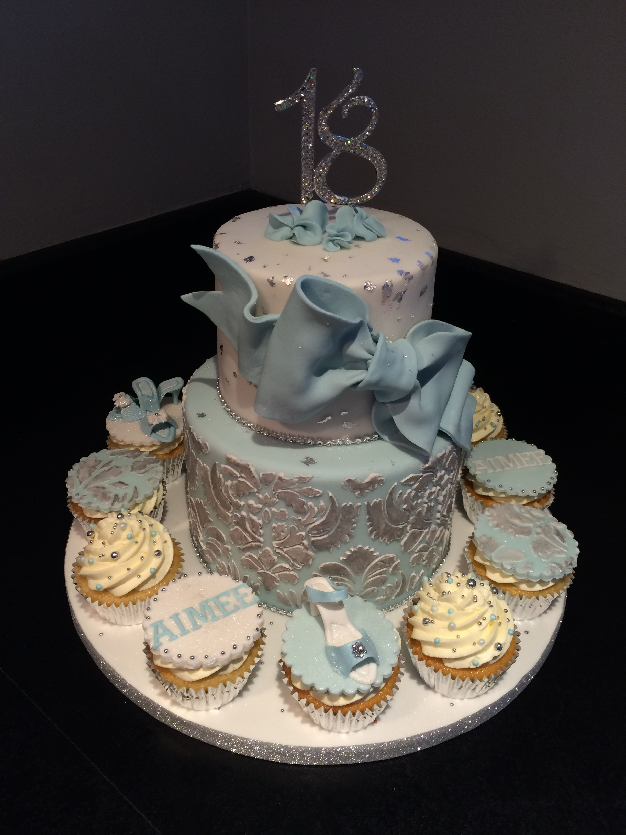 18th birthday cake silver damask Cake, 18th birthday