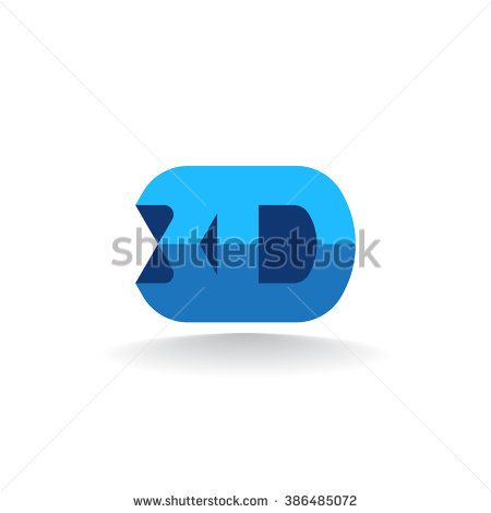 Vector symbol 3 dimensions. 3D logo isolated on white background.