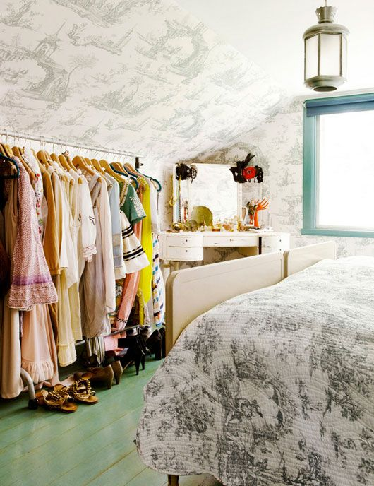 Garment Rack And Heirloom Vanity Are Decorative And Practical Additions To  The Toile Covered Master