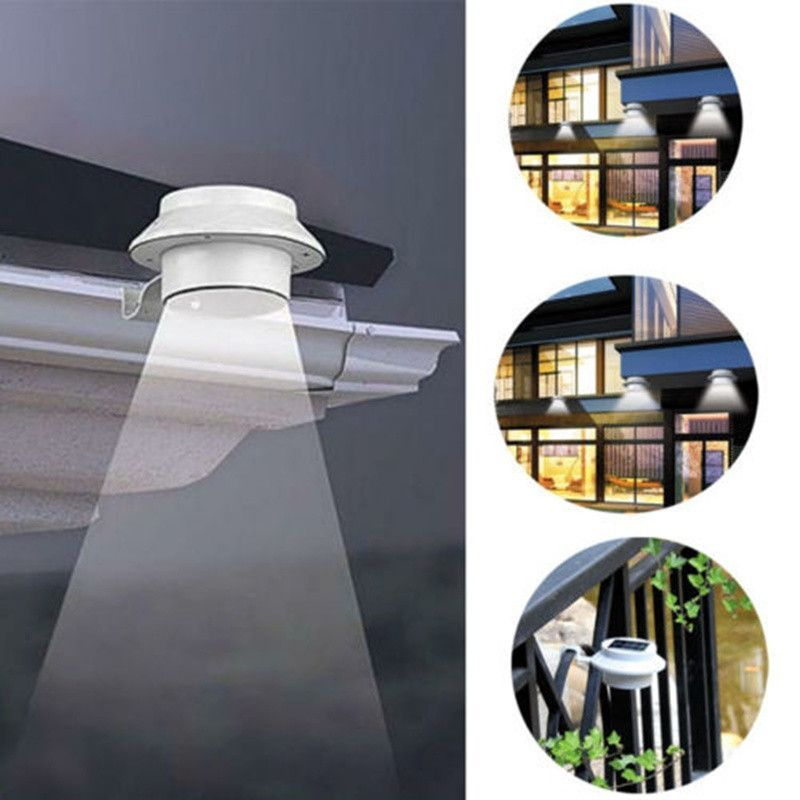 Led solar powered fence gutter light outdoor garden yard wall 3 led solar powered fence gutter light outdoor garden yard wall pathway lamp white bracket aloadofball Images