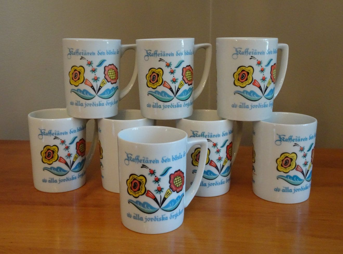 Vintage Berggren Swedish Coffee Cups, Set of 4 Sweden