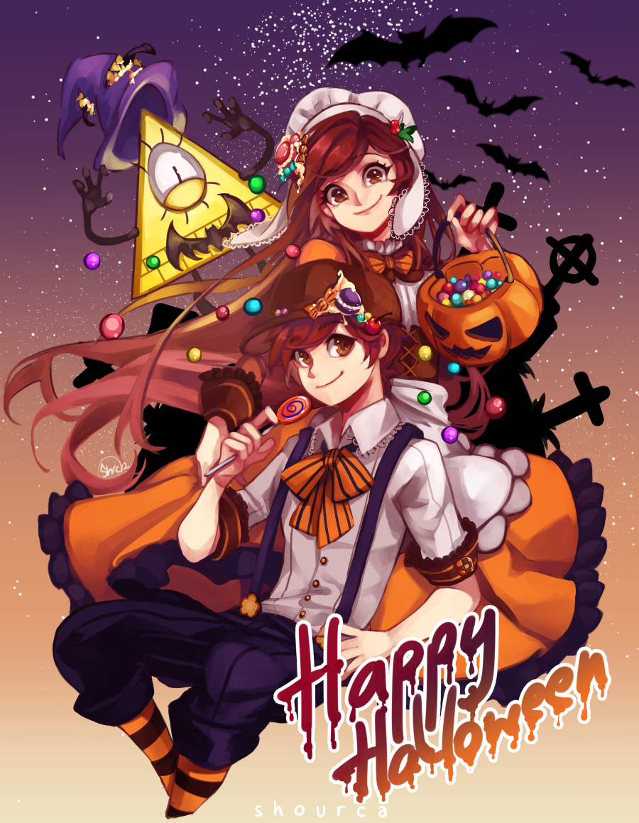 since I won't be here to post it on Halloween I'll just post it now. Happy (almost) Halloween guys!! I draw the twins dressed up as Hansel & Gretel. and Bill as the witch(?) from the gingerbread house XD