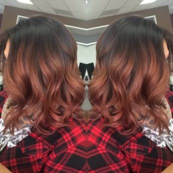 Rose gold balayage and haircut done by hairstylist Ana. To make appointments wit…