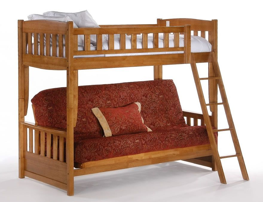 Loft Bed With Futon Night And Day Cinnamon Twin Over