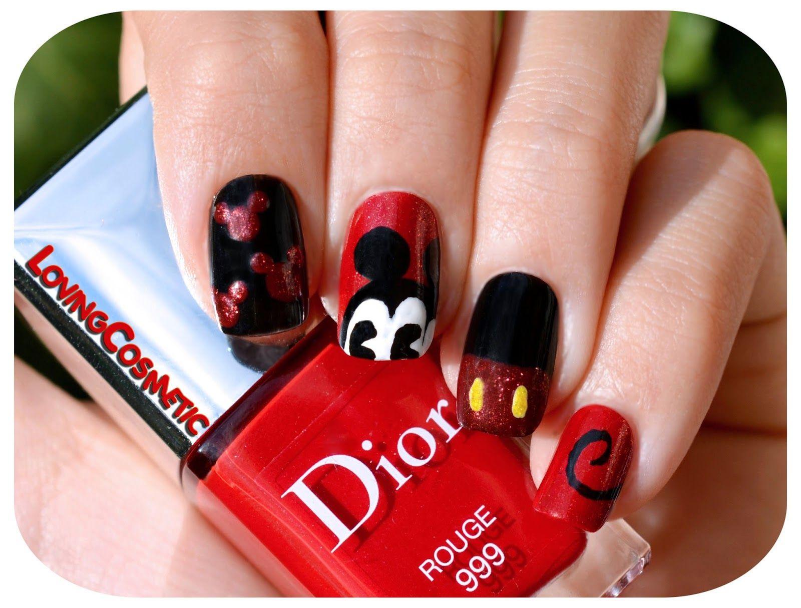 LovingCosmetic: Nail Art - Classic Mickey Mouse | uñas acrilicas ...