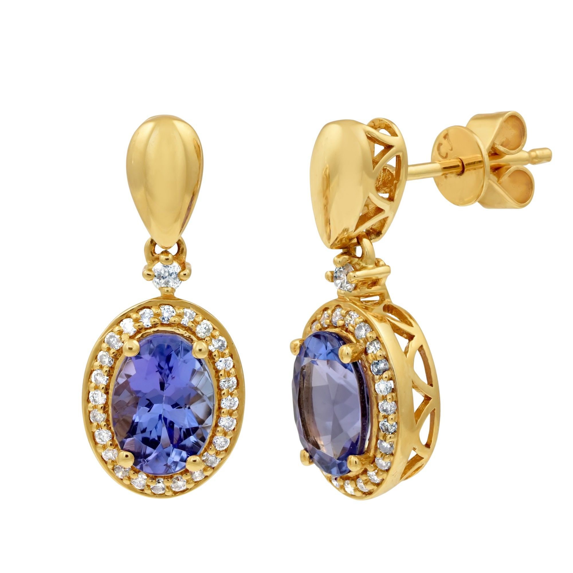 halo earrings white tanzanite davies diamond product and gold drop edwards