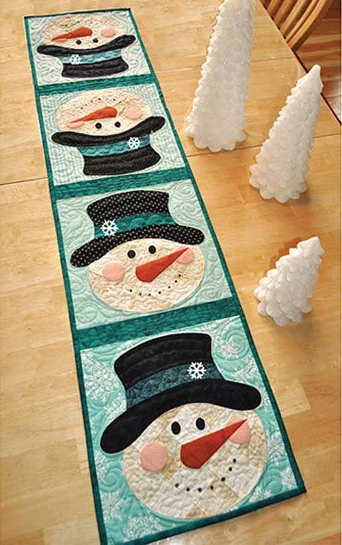 patchwork snowman table runner pattern n hen weihnachten. Black Bedroom Furniture Sets. Home Design Ideas