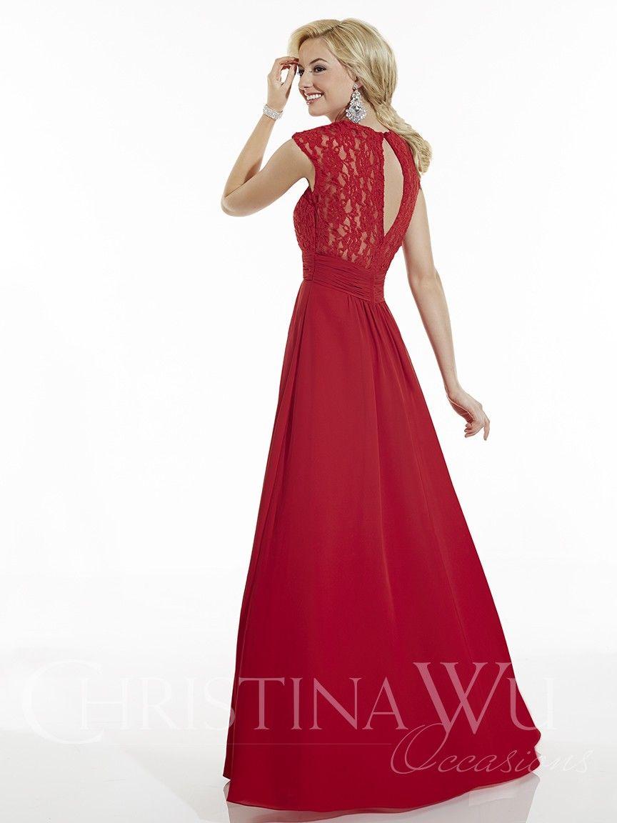 available at Spotlight Formal Wear long lace/chiffon bridesmaid dress with keyhole back