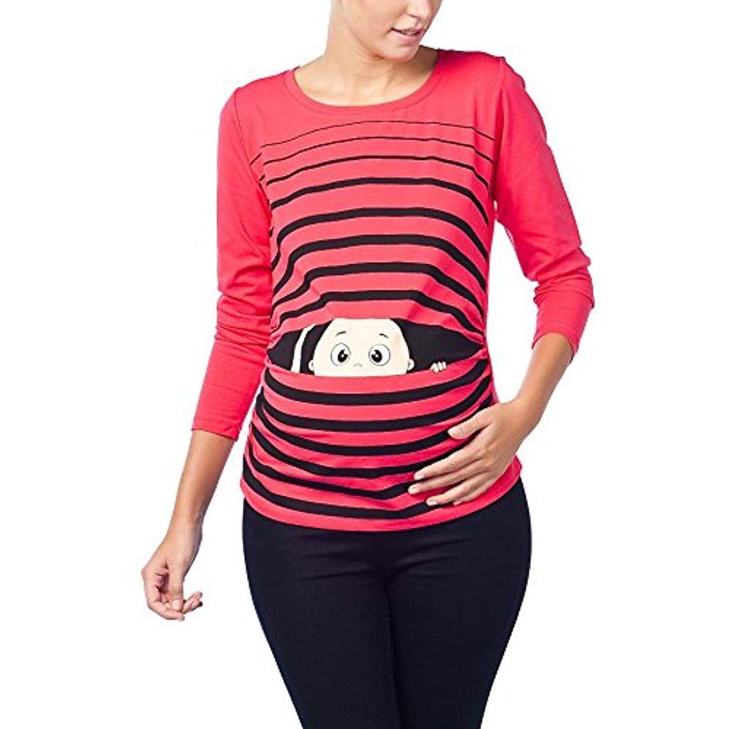Maniche Lunghe maternit/à Piedi del Beb/è Premaman Abbigliamento Donna Magliette Premaman T-Shirt Divertente Gravidanza M.M.C