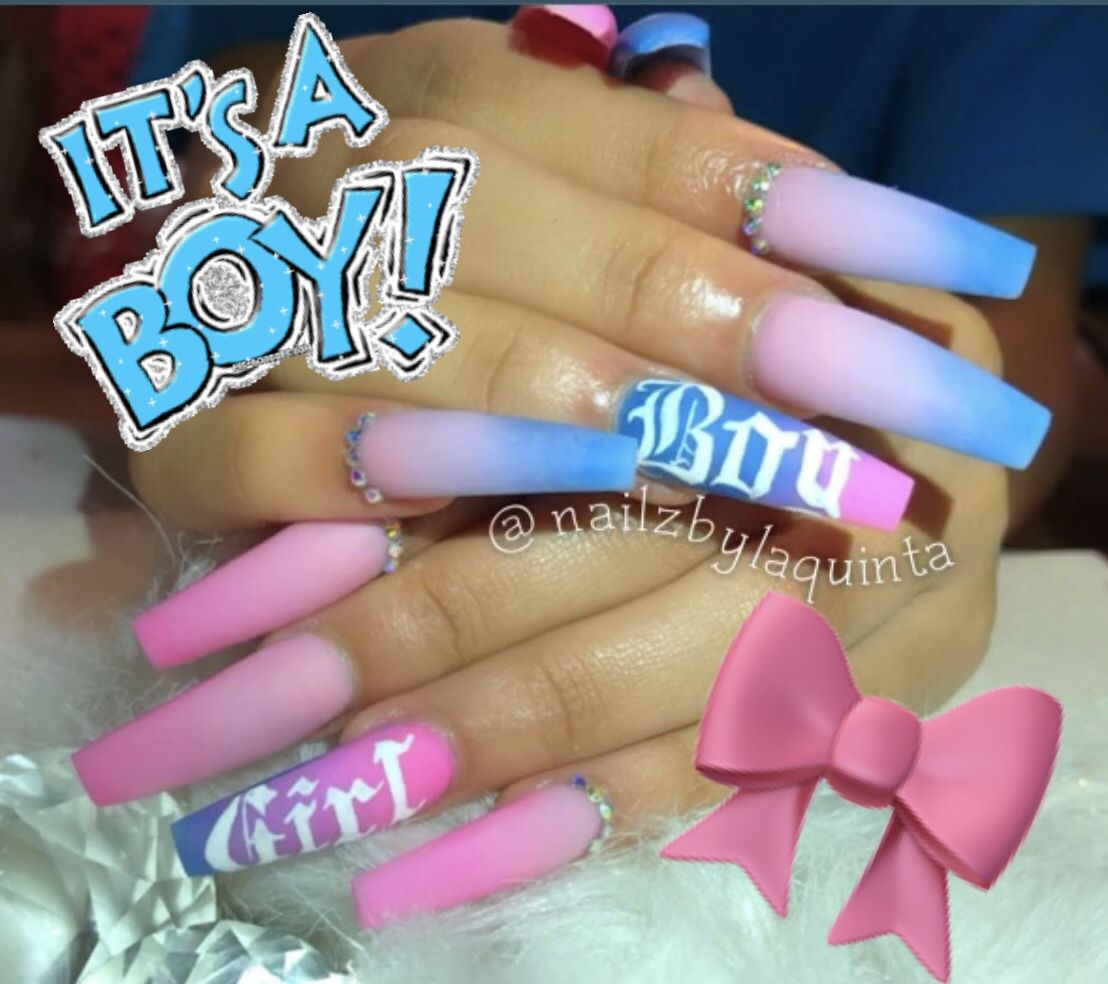 Gender Reveal In 2020 Baby Nails Baby Blue Nails Gender Reveal Nails