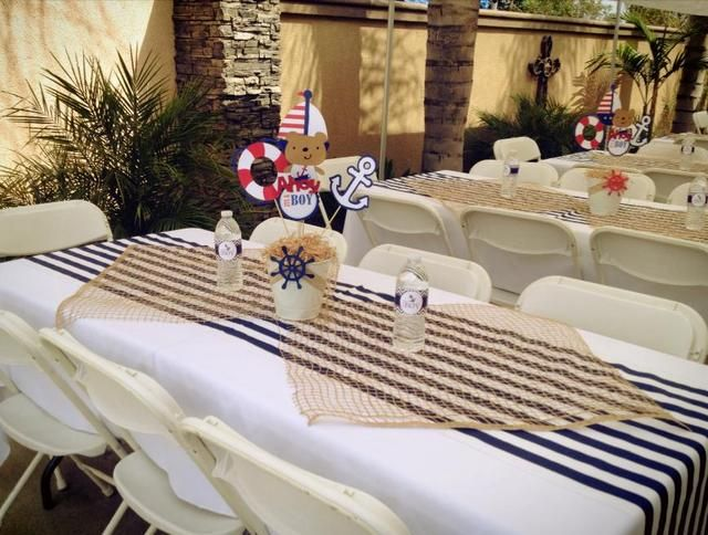 Sailor Nautical Baby Shower Party Ideas Photo 4 Of 9 Nautical Baby Shower Boy Baby Shower Table Cloths Nautical Baby Shower