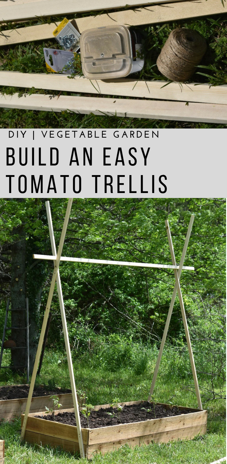 Easy DIY String Tomato Trellis is part of Tomato trellis, Vegetable garden raised beds, Diy trellis, Diy garden projects, Garden trellis, Raised garden beds - Learn how to grow beautiful tomatoes on this easy diy string trellis  With a few supplies and a few hours you can build this quickly