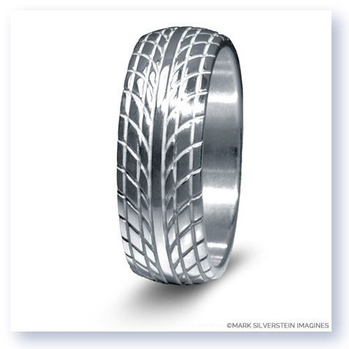Feed Your Love For Cars Or Racing With This Beautifully Crafted Sterling Silver Mens Wedding Band Featuring An Inspired Tire Tread Design