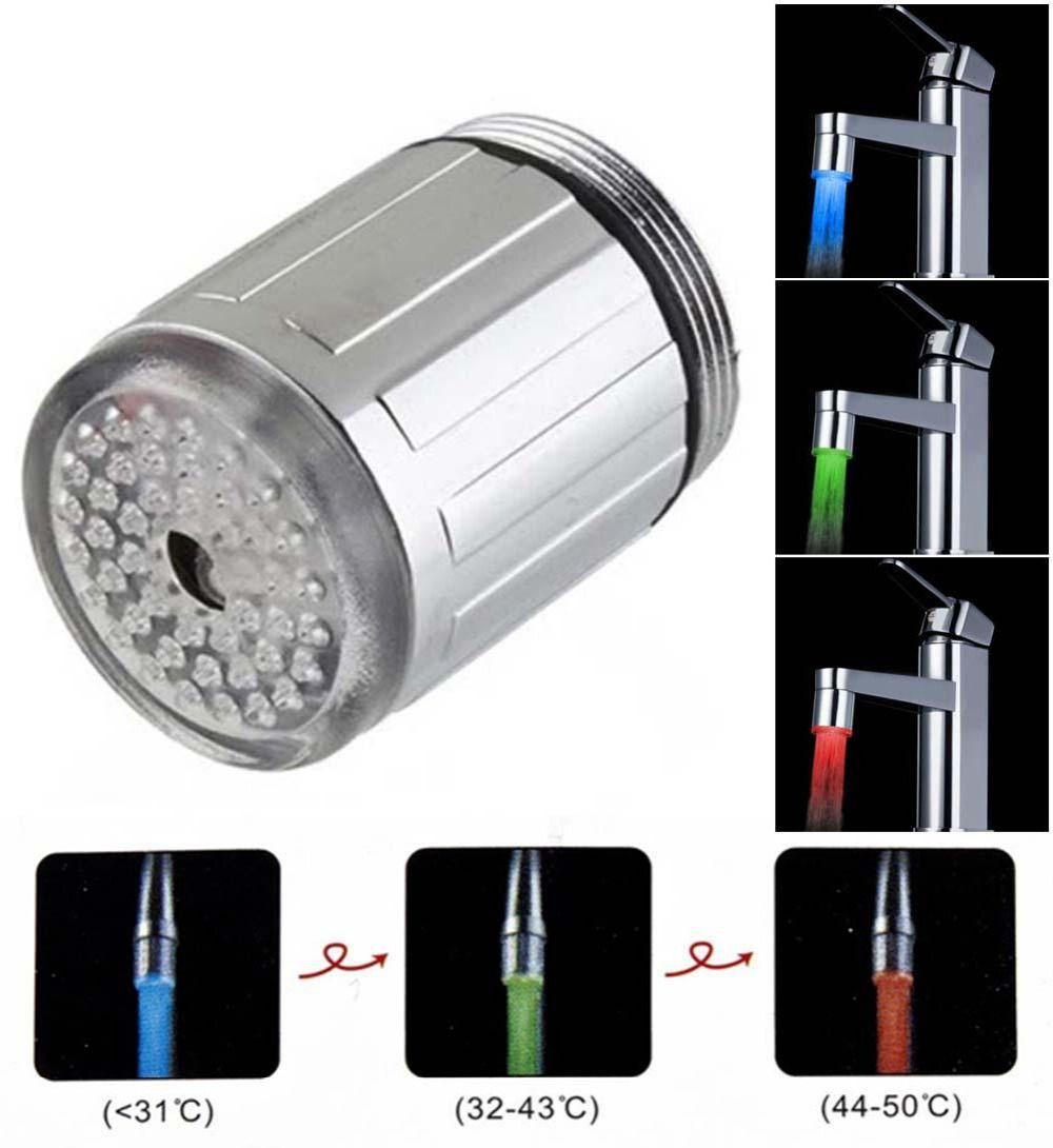 Hot 3 Color Kitchen Faucet Bathroom Faucets Temperature Sensor Faucet RGB Led  LED Light Faucet For