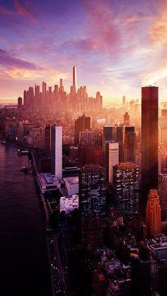 New York Sunset City Skyline Iphone 5 Wallpaper In 2019