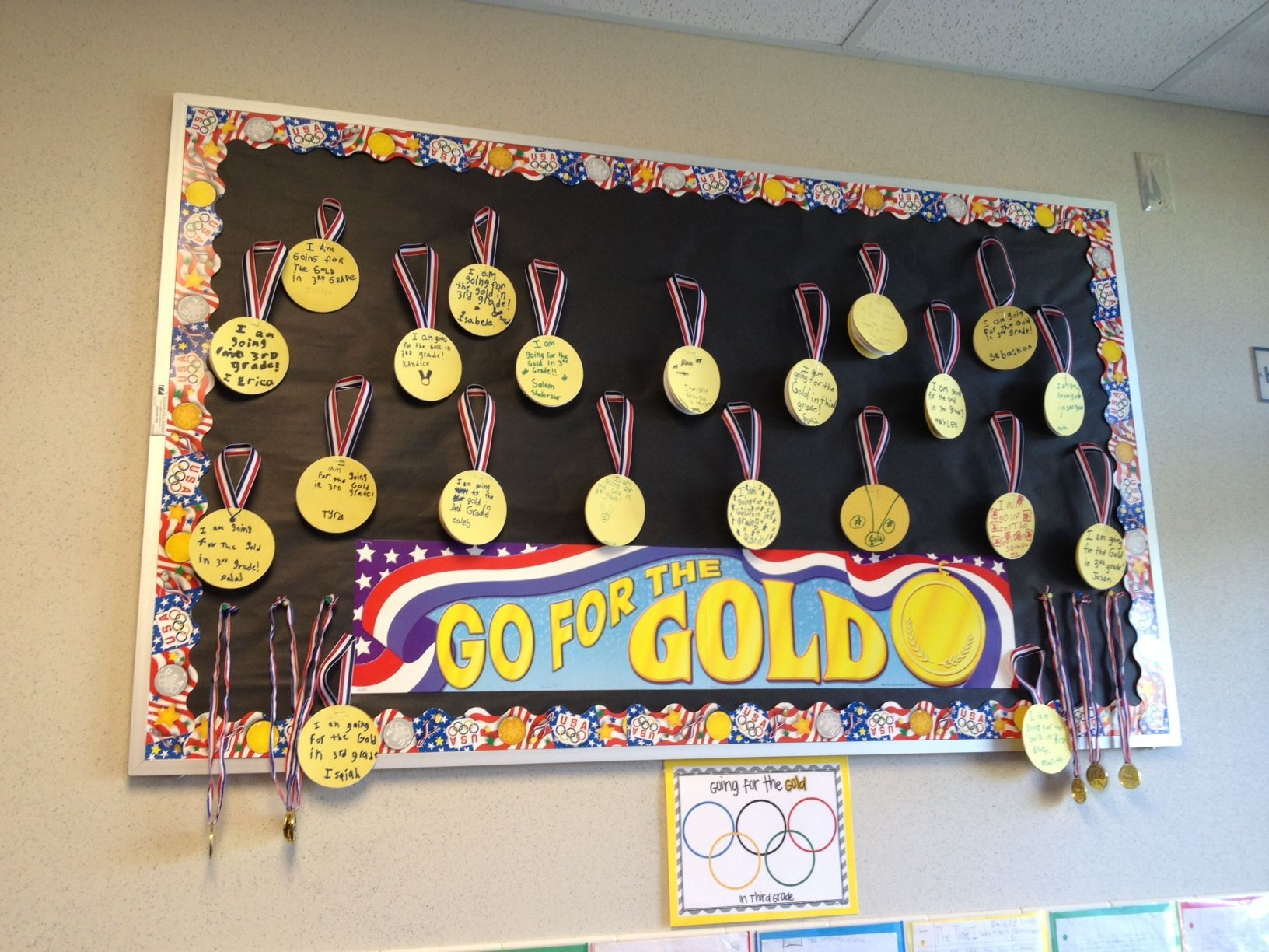 Goals board each student writes a goal on a medal