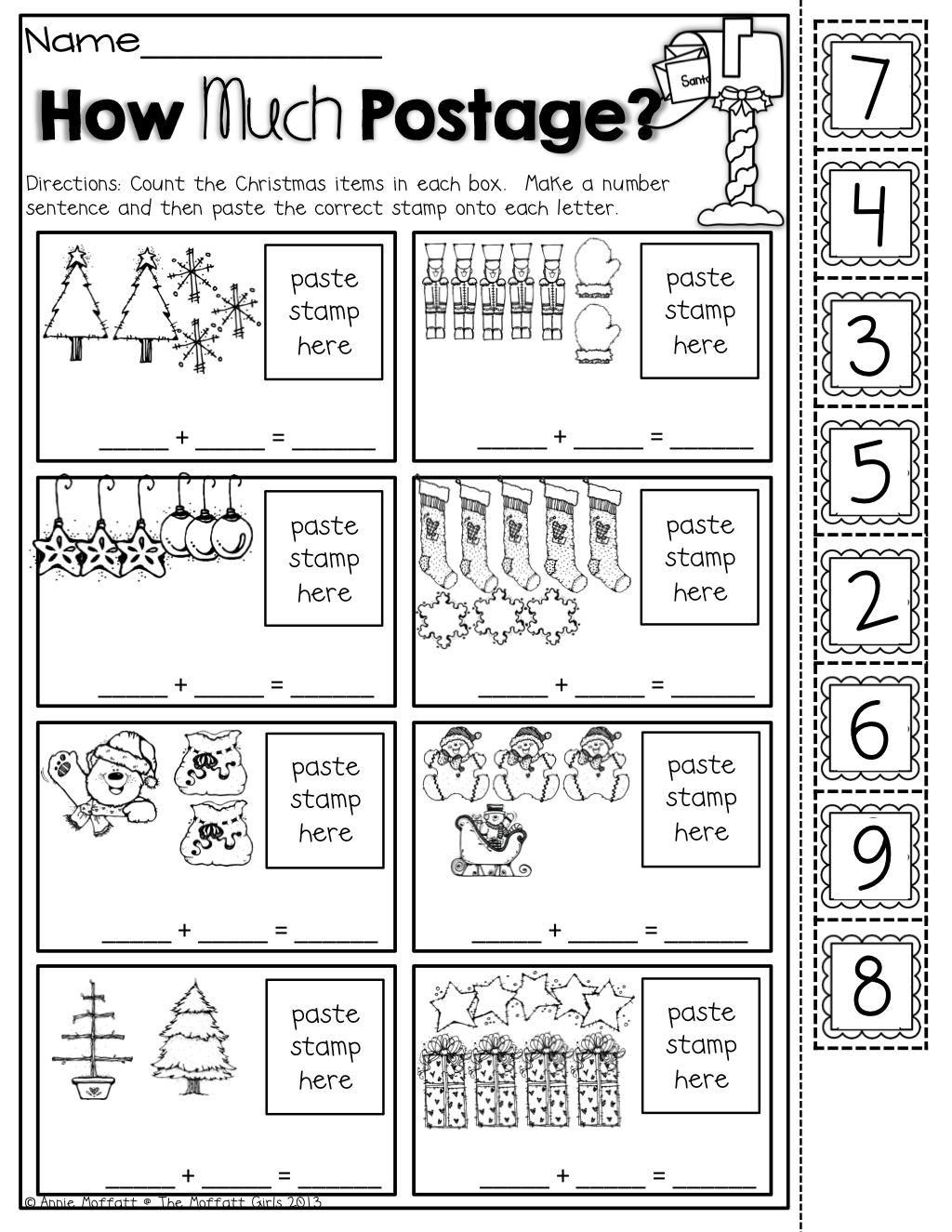 The Moffatt Girls Christmas No Prep Packet Kindergarten Kinder Math Stations Kindergarten Math Preschool Math Worksheets [ 1325 x 1024 Pixel ]