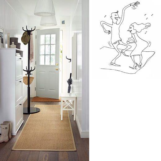 alfombra beige de ikea en un pasillo en blanco dibujo de