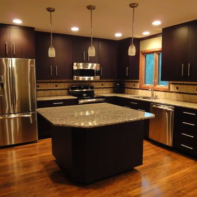 Espresso Cabinets With Medium Oak Wood Floors Google Search Dark Wood Kitchen Cabinets Dark Wood Kitchens Contemporary Kitchen