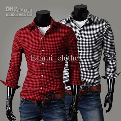 Hot sale men 39 s cotton plaid shirts lapel long sleeve slim for Red and white plaid shirt mens