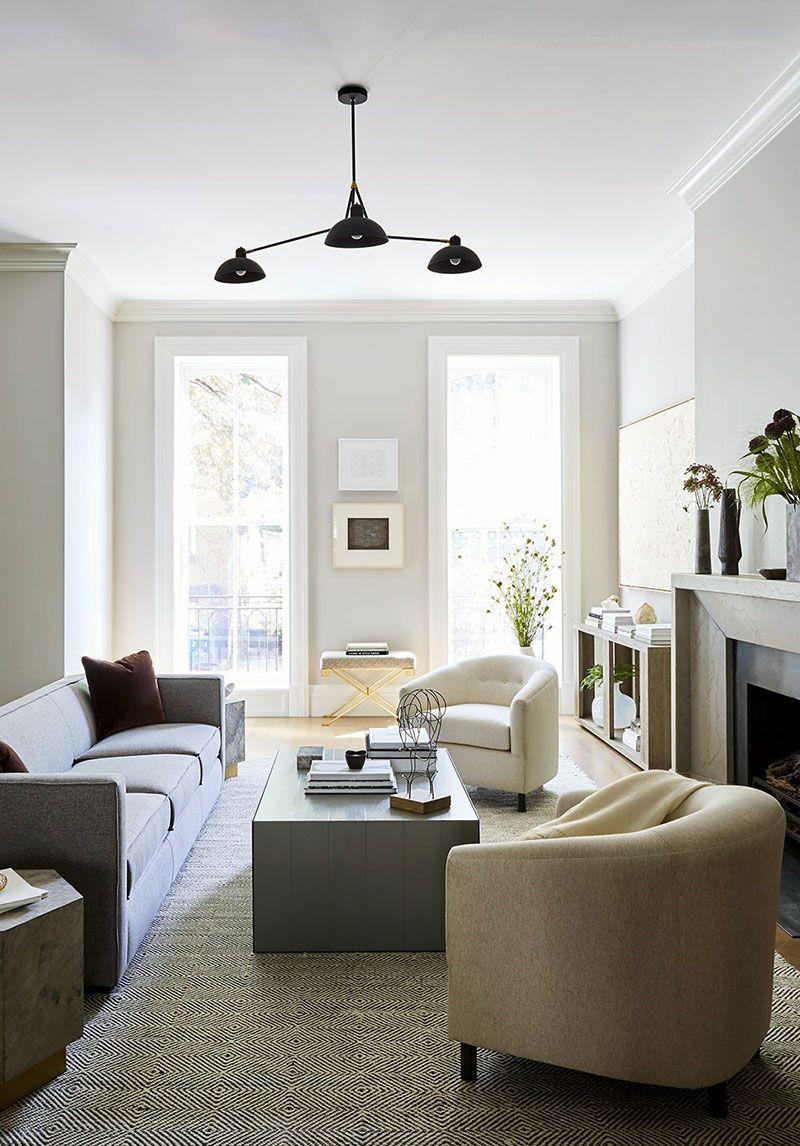 Spokojnaya Elegantnost Interera Taunhausa V Nyu Jorke Foto Idei Dizajn Livingroom Layout Minimalist Living Room Modern Contemporary Living Room