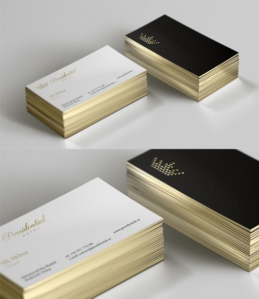 Sleek Black And White Gold Edged Business Card For A
