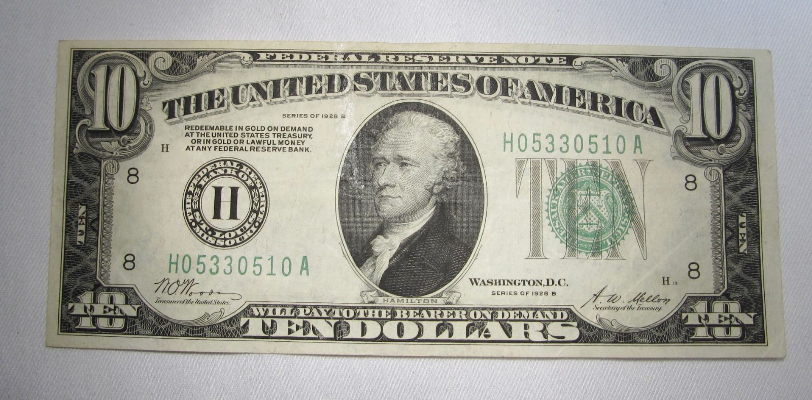 B 10 00 Federal Reserve Payable In Gold Note Choice