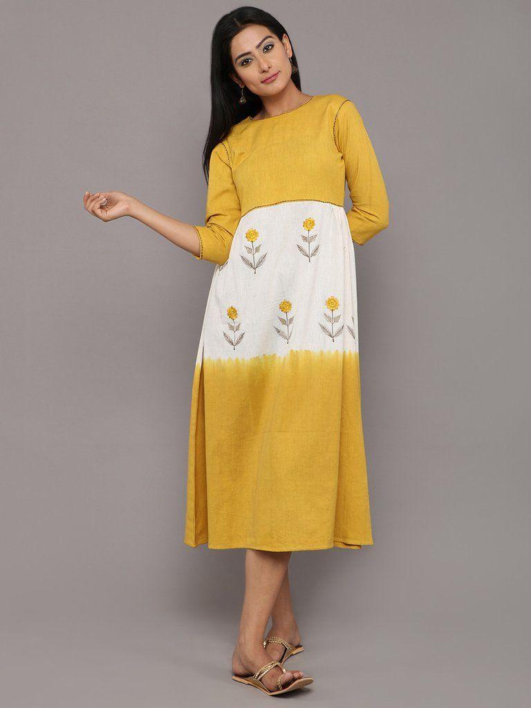 d149ffc34b4a Mustard Yellow White Khadi Mogra Embroidered Swing Dress Simple Kurtis