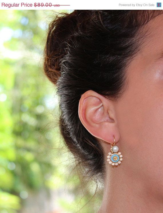 HOLYDAYS SALE UNIQUE pearl turqouise earrings by inbalmishan, $75.65