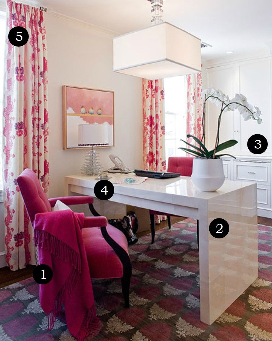 Incredible Pink Office Desk Beautiful Home In Officeluxeblogcom Luxe By Number Series This Beautiful Pink Office Is Amazing