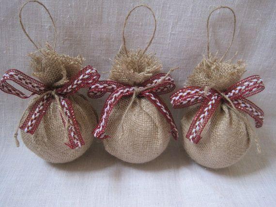 Rustic burlap ornaments ,Christmas tree ornaments ,large burlap