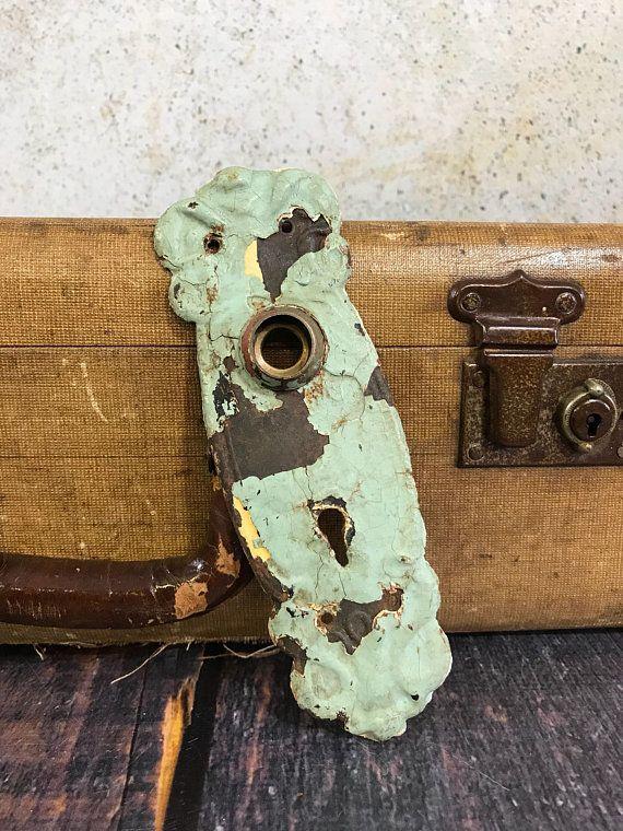 Green Chippy Paint- ESCUTCHEON Plate Old Door Hardware- Salvaged Door Plate Door Plate- & Green Chippy Paint- ESCUTCHEON Plate Old Door Hardware- Salvaged ...
