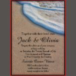 This wedding invitation features a photo of a sandy beach with sea foam.  This invitation works well for beach, ocean, seaside, coastal, exotic or destination weddings.  The back has more room for details if you need the space.