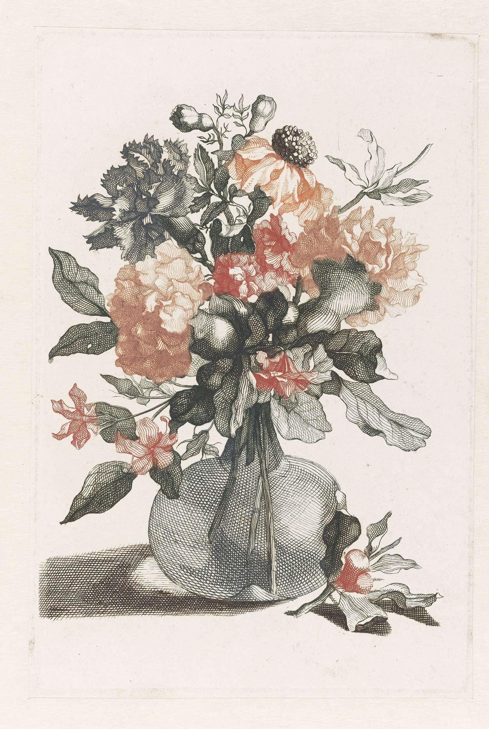 Anonymous | Glazen vaas met bloemen en voor de vaas een tak met bloem, Anonymous, Jean Baptiste Monnoyer, Johan Teyler, 1688 - 1698 |