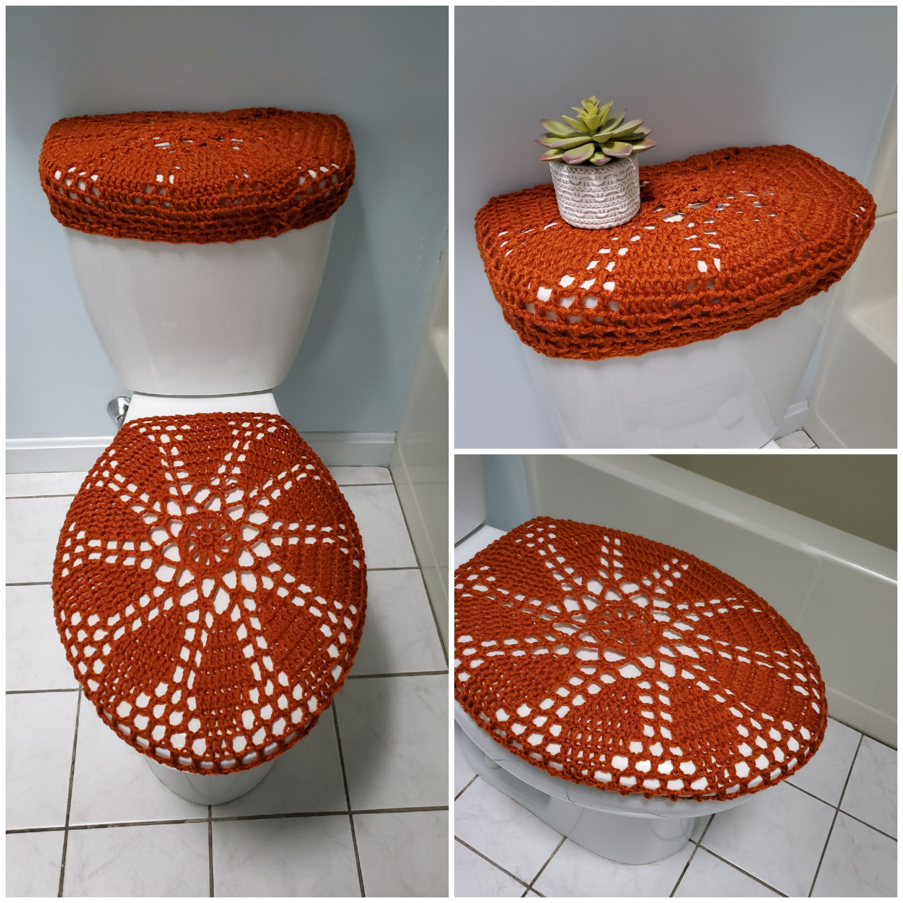 Crochet Toilet Tank Lid Cover Or Toilet Seat Cover Gold Flame