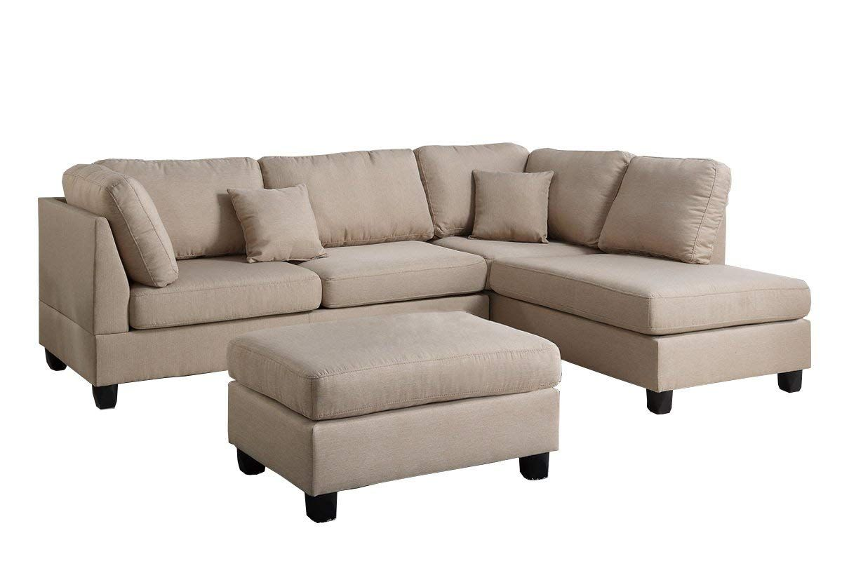 Best Amazon Com Poundex F7605 Bobkona Dervon Linen Like Left Or Right Hand Chaise Sectional Set With 400 x 300