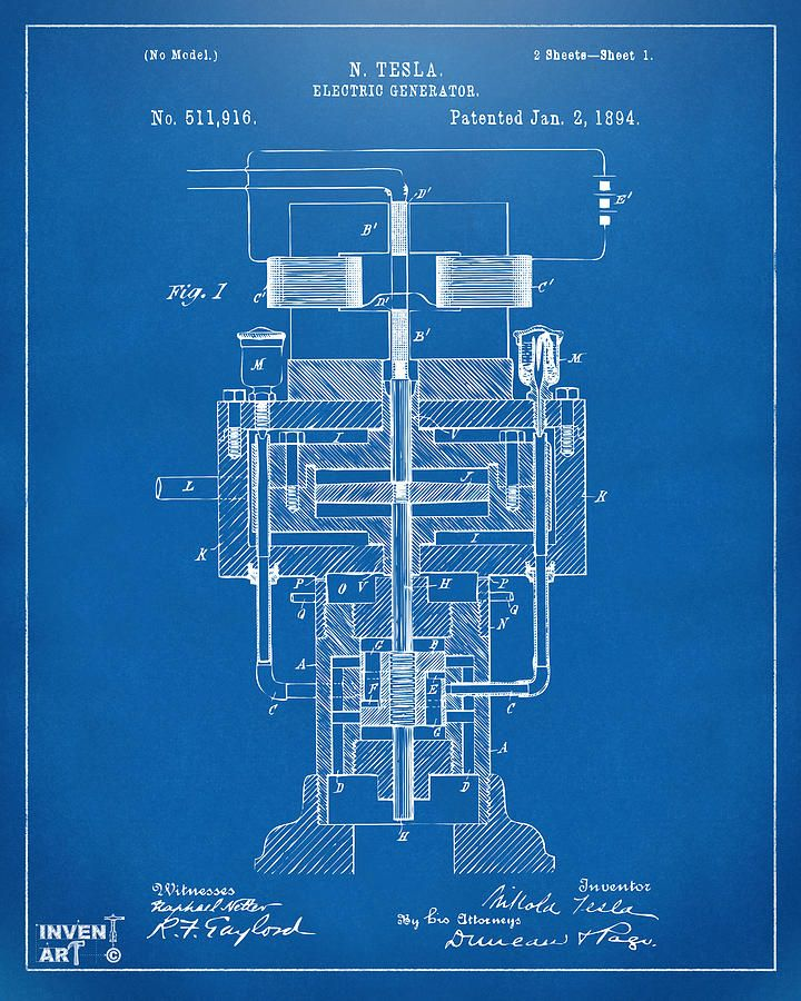 1894 Tesla Electric Generator Patent Blueprint Drawing by Nikki - new blueprint gun art