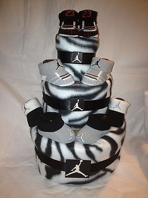New NIKE Air Jordan Bootie Diaper Cake Zebra Print Baby Shower Centerpiece  GREAT