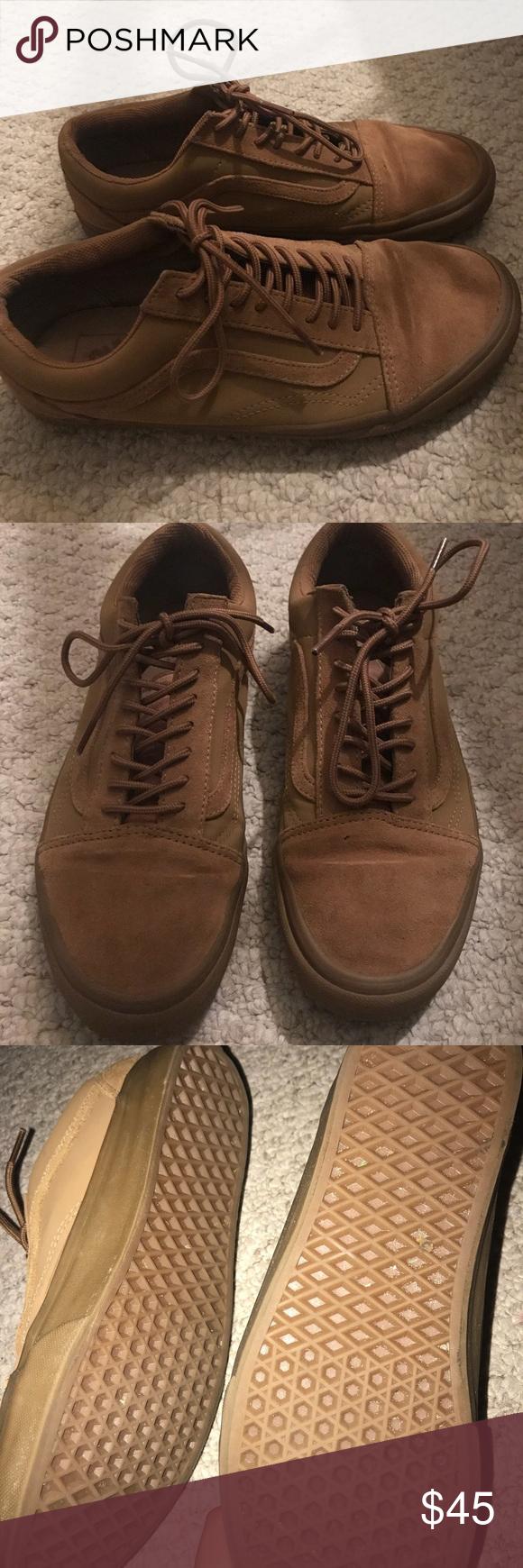 Tan vans 9.5 men 11 women Vans. Worn twice. Like new condition. Size 9.5  men s 11 women s. All Tan brown color. Vans Shoes Sneakers 1f20cf68d