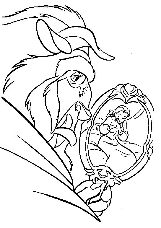 See Belle From The Mirror Coloring Pages Beauty And The Beast